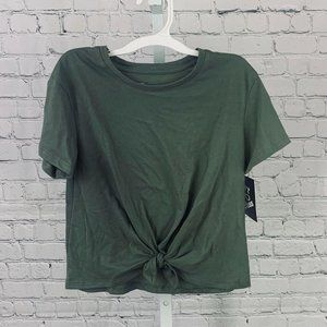 SHORT SLEEVE TIE FRONT T-SHIRT OLIVE S